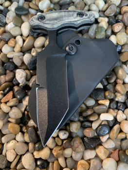 "3.5"", 3 finger grip, Modified Tanto Bayonet Push dagger, sharpened top edge, Black Micarta Handle"