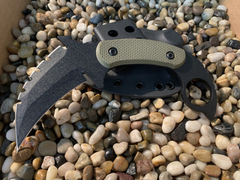 Combat Karambit  Tri-edge with aggressive top,Green Textured G-10 Handles