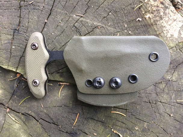 """2.5"""" Push dagger with 3 finger grip handle, OD Green textured G10, Black Finish"""