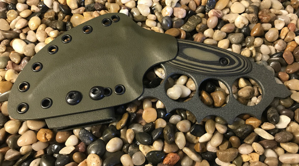 Trench Karambit with crusher point, aggressive top, exclusive GHOST Green Finish, OD Green/Black G-10
