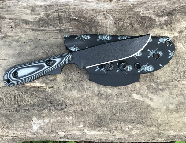 Limited Edition Wolf Drop Point, Skull & Gun Pattern Black sheath, Black & Gray G10 Handle