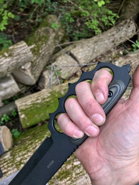Trench Knife With Hand Guard, Tanto blade, 8670 Steel, OD/Black G10 Handles, Black Finish