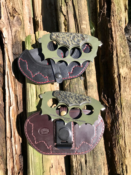 Trench Knuckles: 3D machined OD Green/ Black G10  Handle, 440c Steel, od green finish