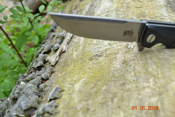 Reactor, modified drop point, D2 steel, Black G10 handle