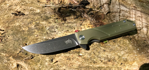 Navajo: Machined OD Green G10 Handle, Black washed D2 Steel Blade