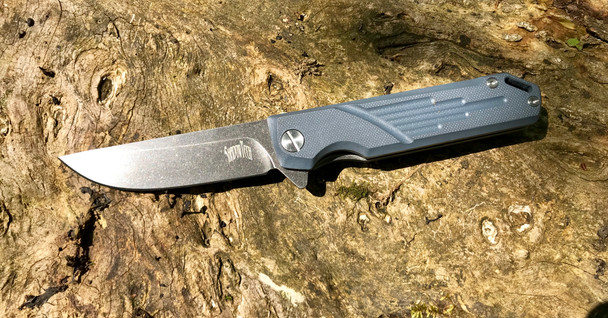 Navajo: Machined Blue-Gray G10 Handle, Black washed D2 Steel Blade