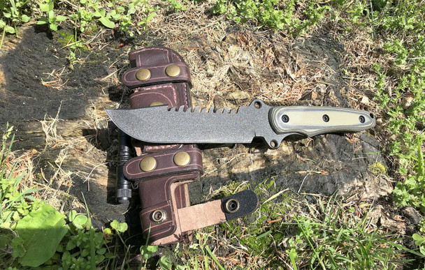 STK1032HV: TRAIL BLAZER, Havana Brown Leather sheath, 8670 steel, OD Green/Black G10 Handle, Black Finish