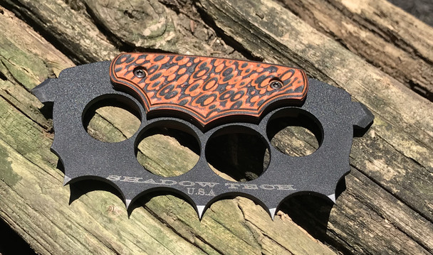 Trench Knuckles: 3D machined Orange/Black G10 Handle, 440c Steel, Black finish