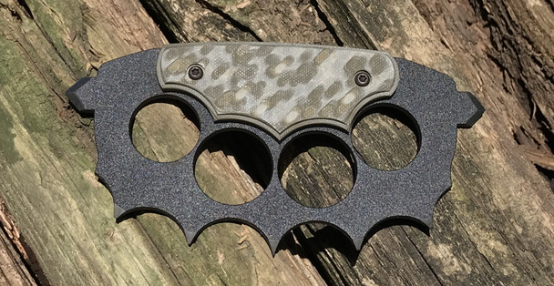Trench Knuckles:OD Green\Tan 3D machined G10 Handle, 440c Steel, Black Powder Coat Finish