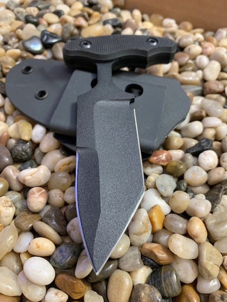 "3.5"", 3 finger grip, Modified Tanto Bayonet Push dagger, sharpened top edge, Black Textured G10 Handle"