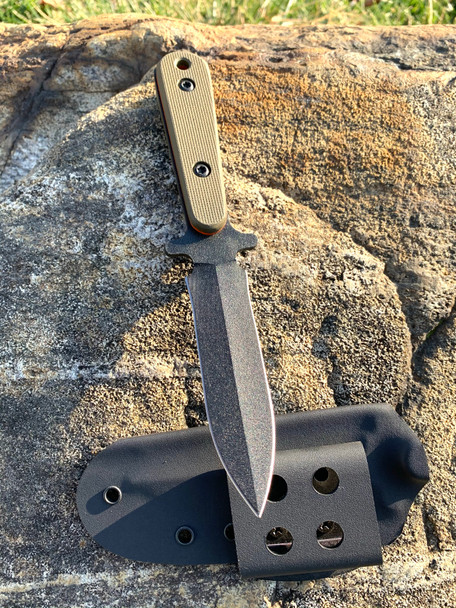 Swift boot knife:CTS-XHP steel, od green textured G10 with Orange G10 Liners