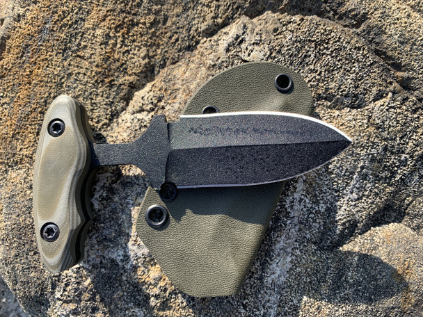"3.0"" Push dagger with 3 finger grip handle,Tan/OD Green G10 Handle, Black finish"
