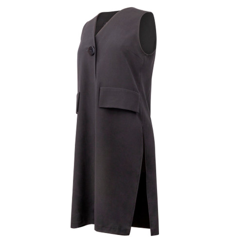 Maternity Long Vest in Black Fabric with One Button Closure in Front and Mock Pockets