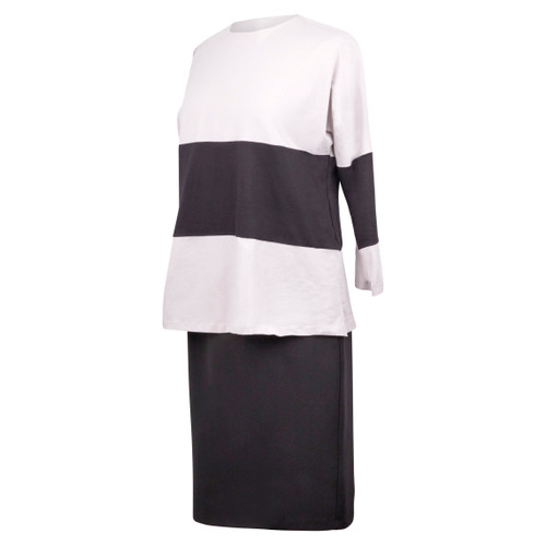 Maternity Top with White Sleeves and Big Black Insert Across the Top and on the Sleeves