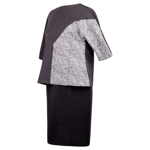 Seamed Black Scuba Top with Black & White Checked Contrast