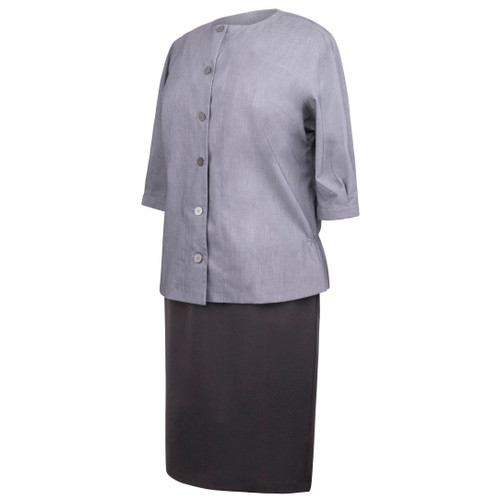 Maternity Jacket in Gray Heather Fabric with Buttons in Front and Gathers in Back and 3/4 Sleeves with Button Closure