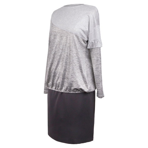 Maternity Top in Soft Heather Shimmery Gray and with Rufle fDetail on Sleeve  Sold as Easy Shabbos Robe Top or Better Weekday