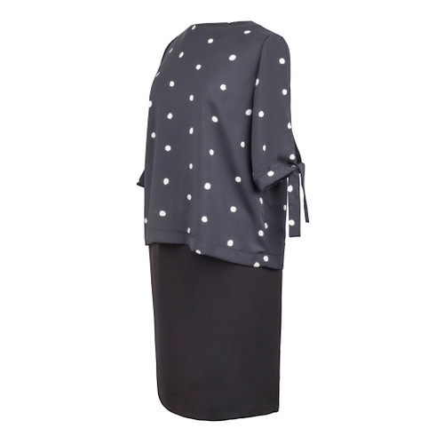 Maternity Top in Black with White Polka Dotts with Tie on Sleeve