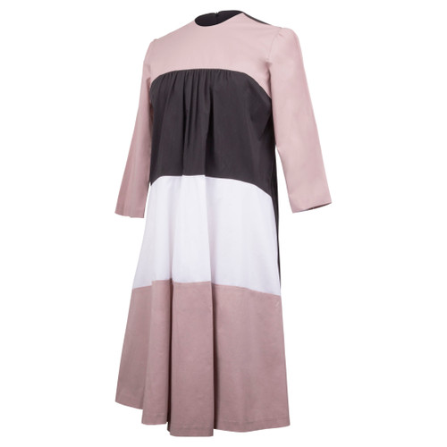 Maternity Cotton Tier Dress Black,  Rose  and White