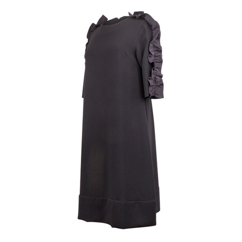 Maternity Dress in Black Crepe Fabric with Taffeta Ruffle on the Sleeve