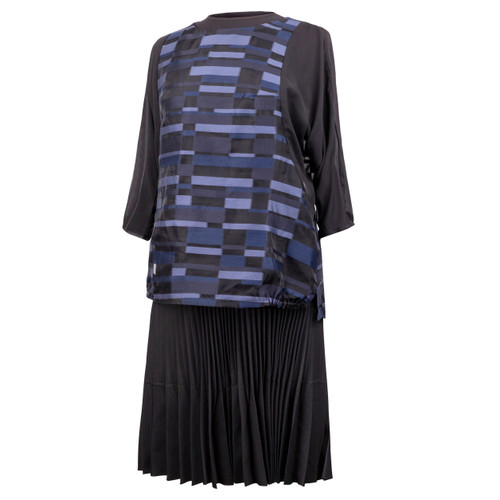 Maternity Top in Printed Black and Blue Fabric with 3/4 Raglan Chiffon Sleeves