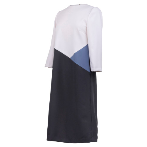 Maternity Dress with Color Blocks of White, Blue and Black Sections