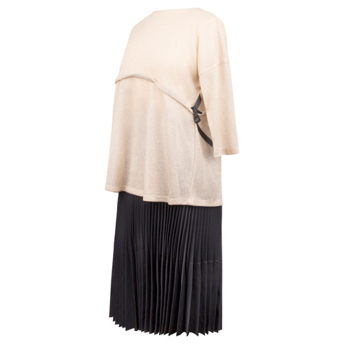 Maternity Top in Cream Knit Fabric with Casing Across the Front for Ties Closing on the Side