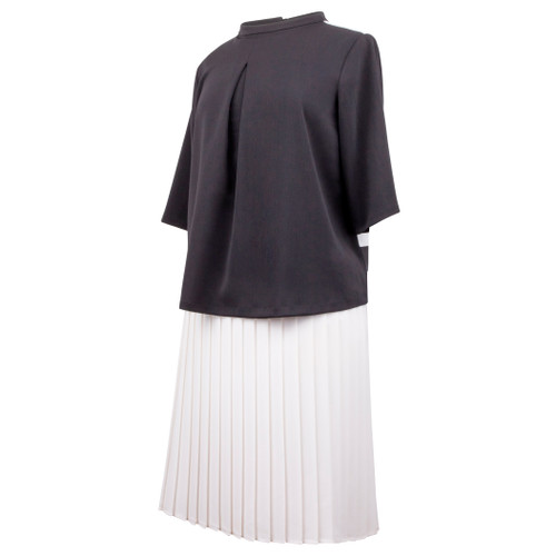 Maternity Top with Cowl Neck and Pleat in Black Ponti Fabric in Front and 3/4 Sleeves, White Fabric and Black Pleats in Back