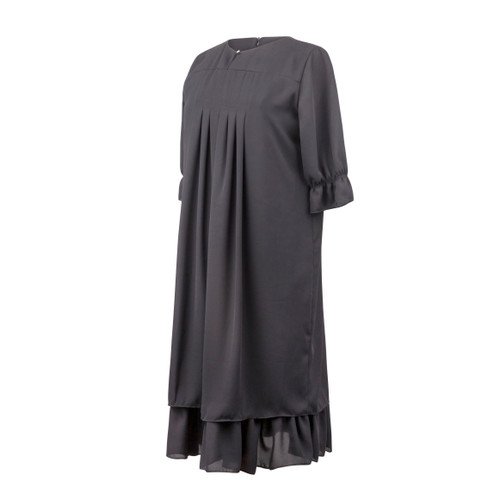 Maternity Dress in Black Chiffon Fabric with Pleats in Front, Ruffle on Sleeve and Ruffle at the Bottom of Dress