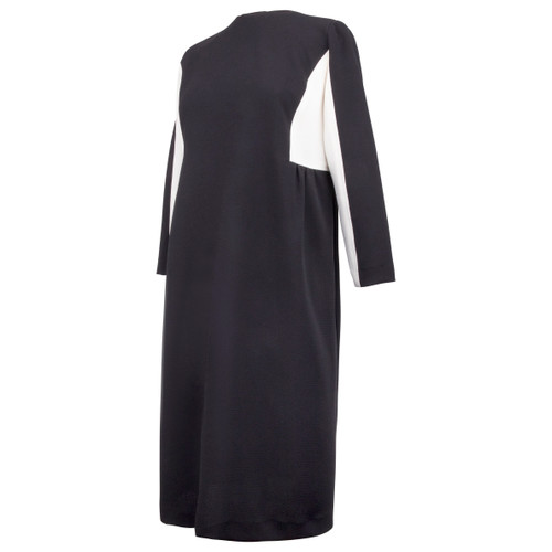 Maternity Dress in Black Crepe Fabric with White Insert Below Sleeves and Gathers at the Side