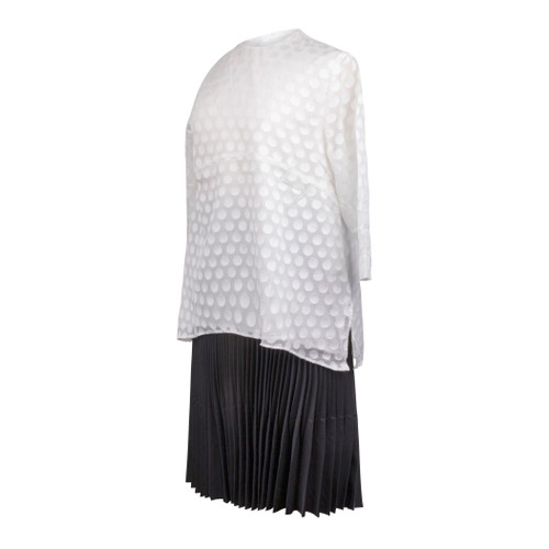 Maternity Top in White Laced Fabric, with 3/4 Sleeves and Uneven Hem