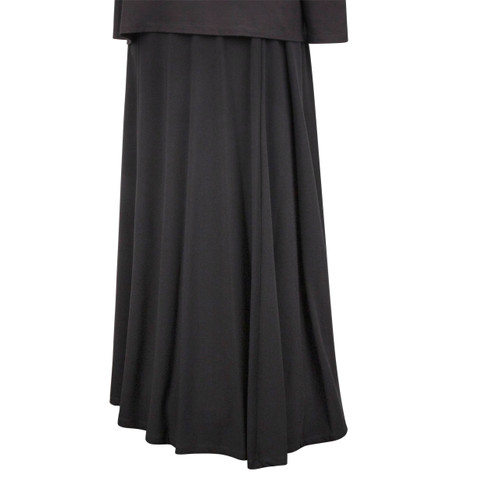 Maternity Long Skirt in a Black Slinky Fabric with Lining, Floor Length, Rubber at Waist can be adjusted.