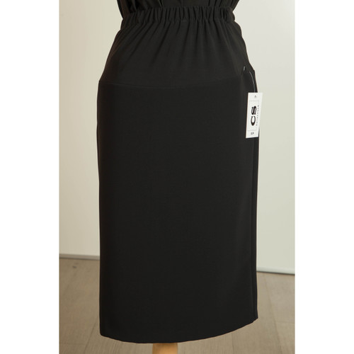 Front View of Maternity Skirt in Black Crepe Fabric, Straight Cut with Kick Pleat in the Back