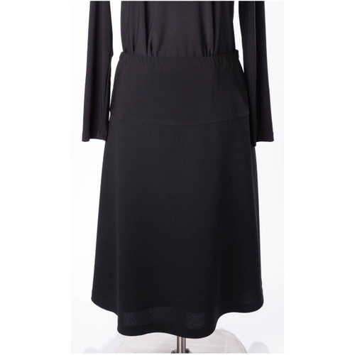 Front View of Maternity Skirt in Black Crepe Fabric cut in A-Lined Style