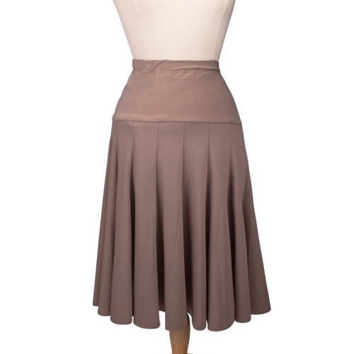 Maternity Skirt in Beige Fabric with Flairy Multi-Panel Design
