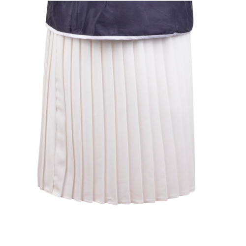 Back of Maternity Skirt in White Pleated Fabric with Slinky White Panel and Adjustable Rubber at Waist