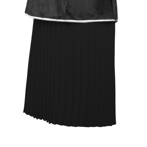 Maternity Skirt in Black Pleated Fabric with Slinky Black Panel and Adjustable Rubber at Waist