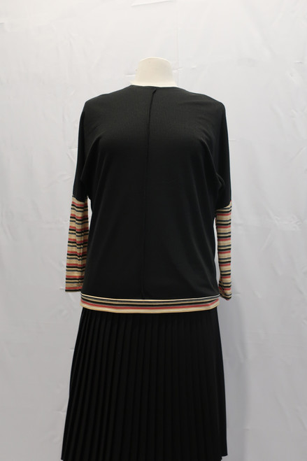Black ribbed comfy top with striped multi colored sleeves