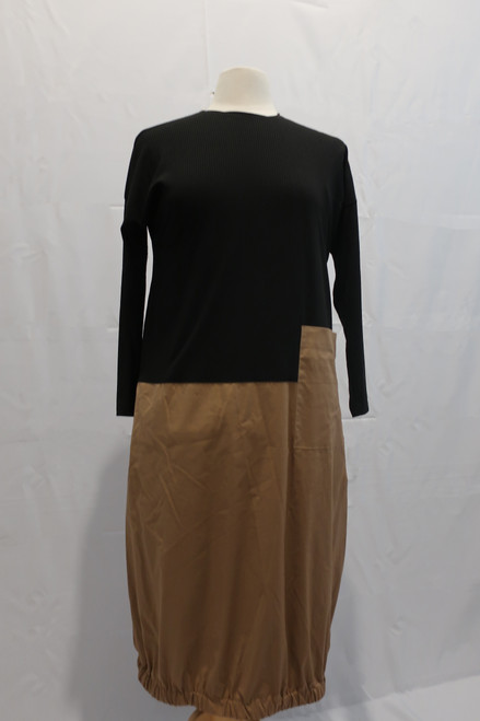 Dress with ribbed black top and tan cotton bubble bottom