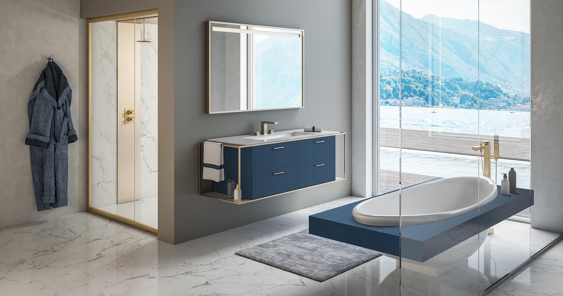 Linea vanity + Suave tub