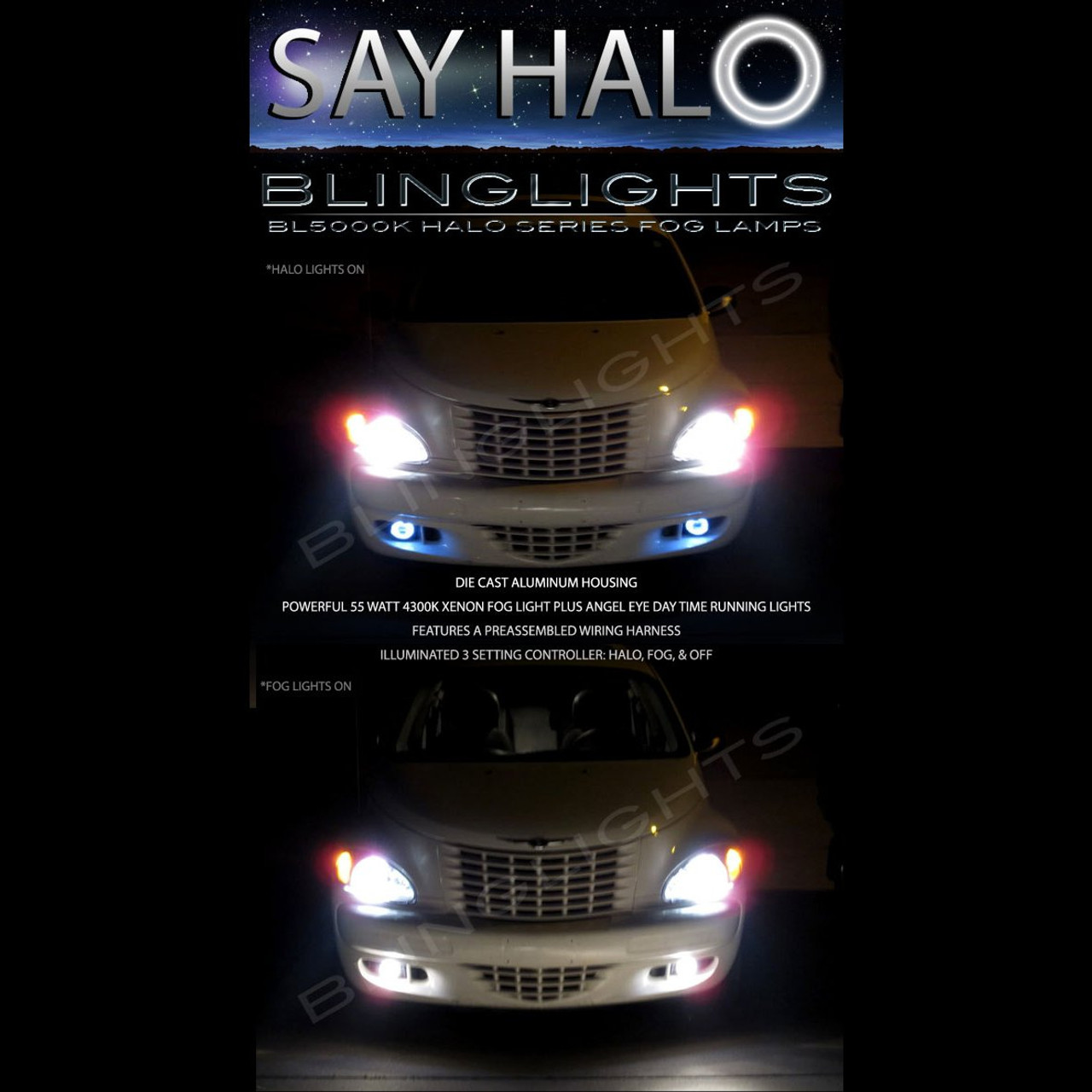 2006 2007 2008 2009 2010 Chrysler PT Cruiser Halo Fog Lamps Angel Eye Driving Lights Foglamps Kit