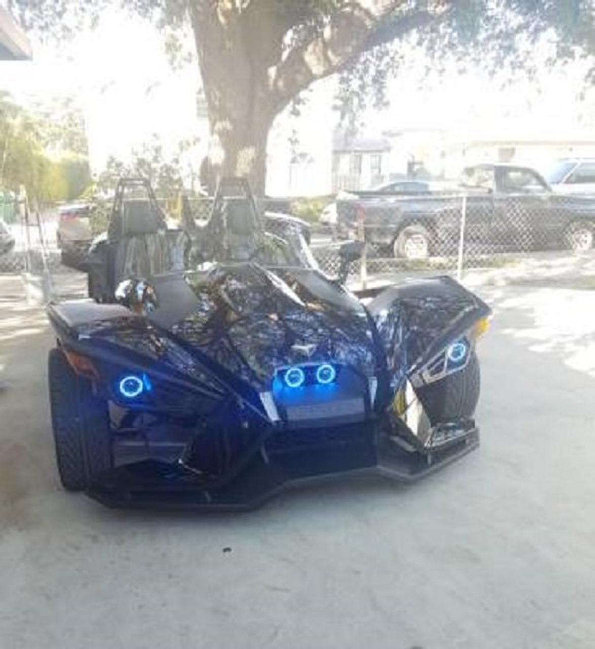 4x Blue LED Polaris Slingshot Addon Angel Eye Headlamp Headlight Halo Rings