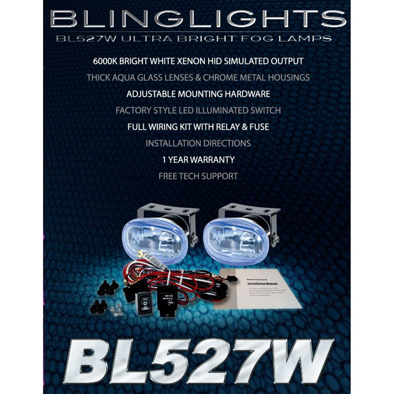 Kawasaki Vulcan 500 VN500 Xenon Driving Lights Fog Lamps Drivinglights on