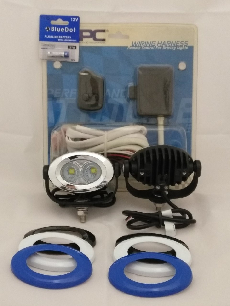 LED Chrome Motorcycle ATV UTV Flood Lights Auxiliary Lamp Kit