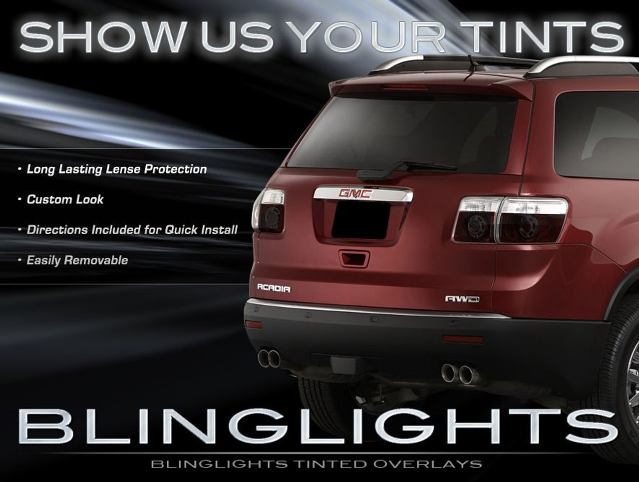 GMC Acadia Tinted Tail Lights Smoked Film Lamp Overlay Covers