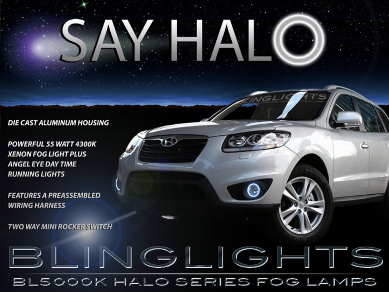 2010 2011 2012 Hyundai Santa Fe Halo Fog Lights Lamps Kit
