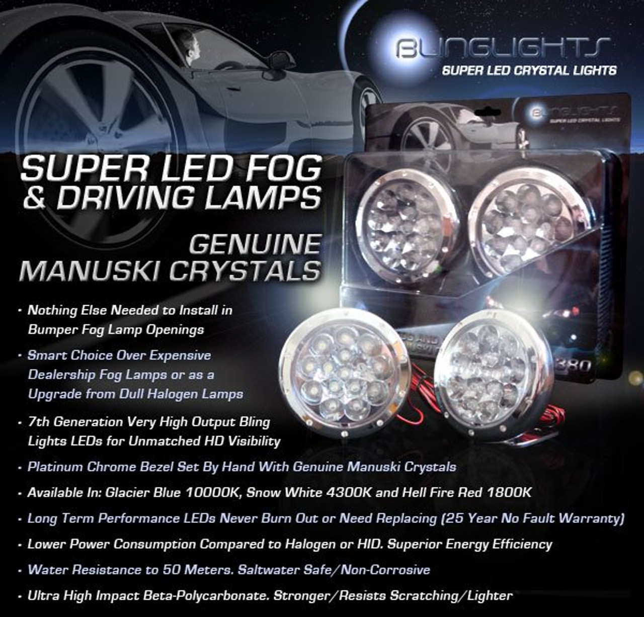 2009 2010 Kia Sportage LED Fog Lamps Driving Lights Foglamps LX EX Foglights Kit
