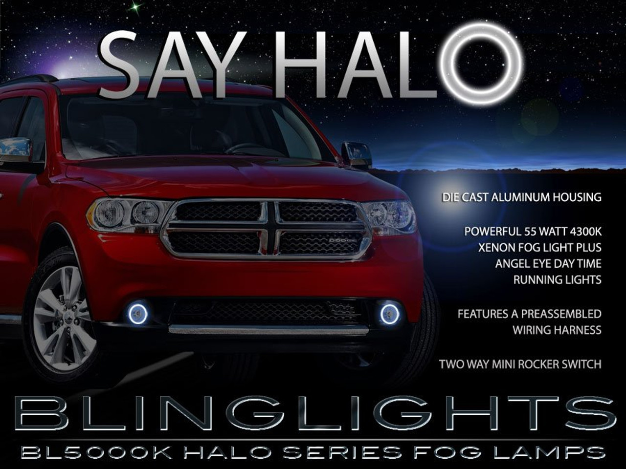 2011 2012 2013 Dodge Durango Halo Fog Lamps Driving Lights