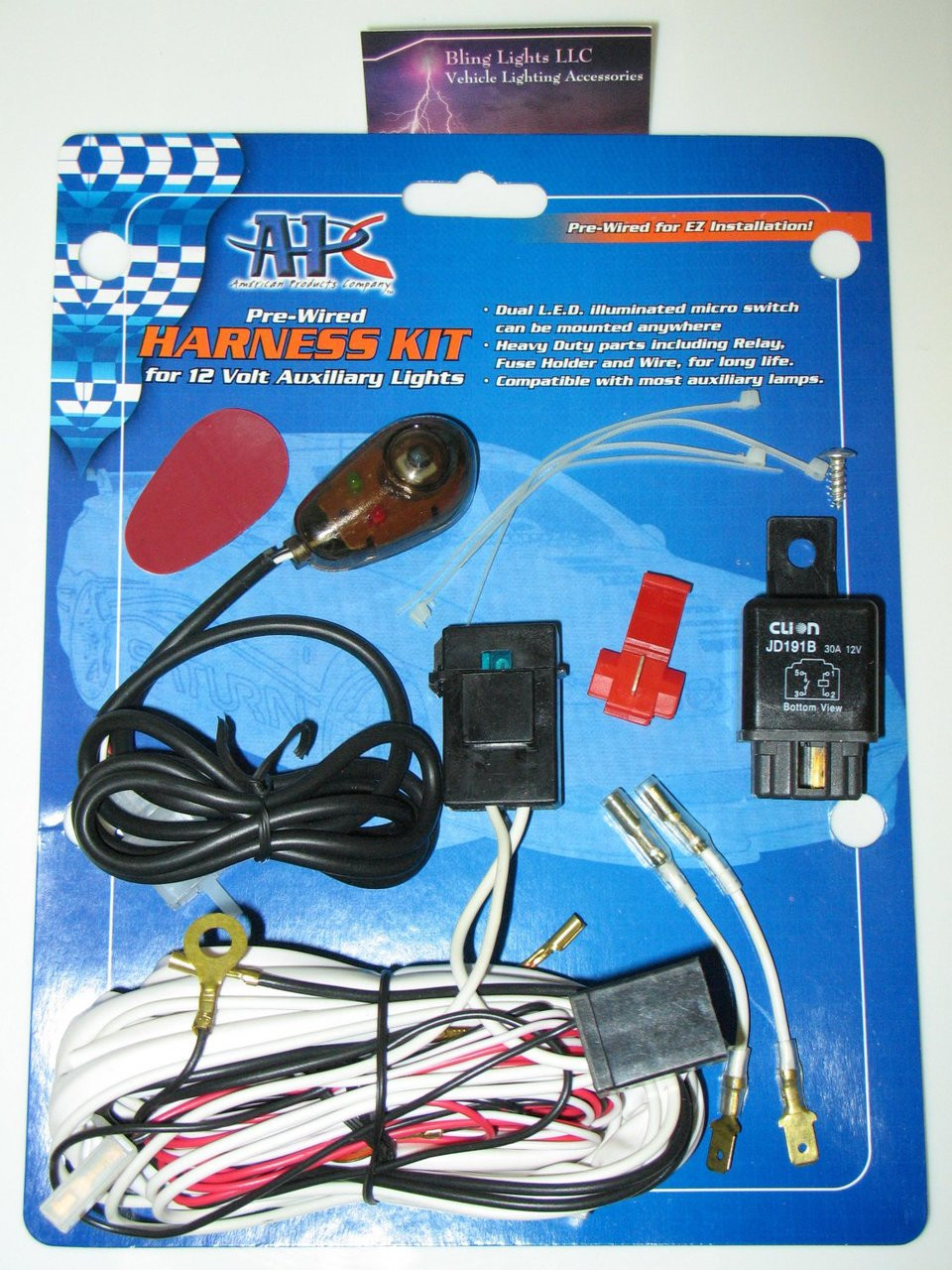 30-amp relay wiring kit driving light fog lamp harness 4x4 auxiliary off  road wiring