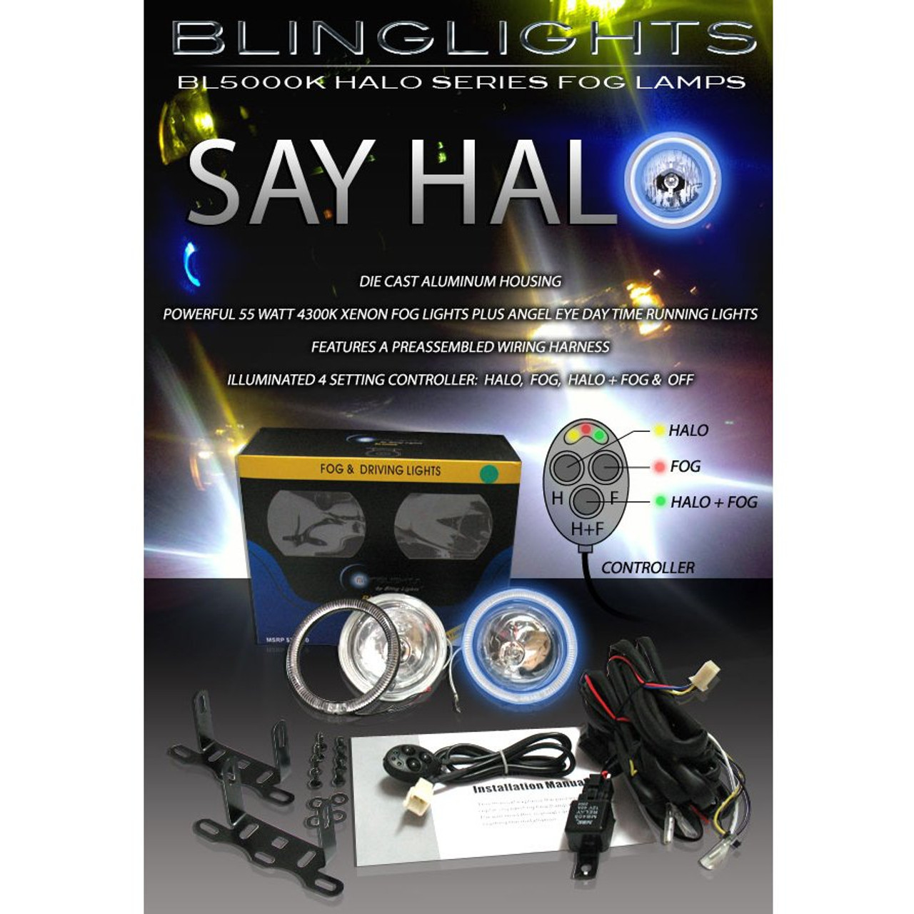 1998 1999 2000 Toyota Hilux Halo Fog Lamps Angel Eye Driving Lights Foglamps Foglights Kit